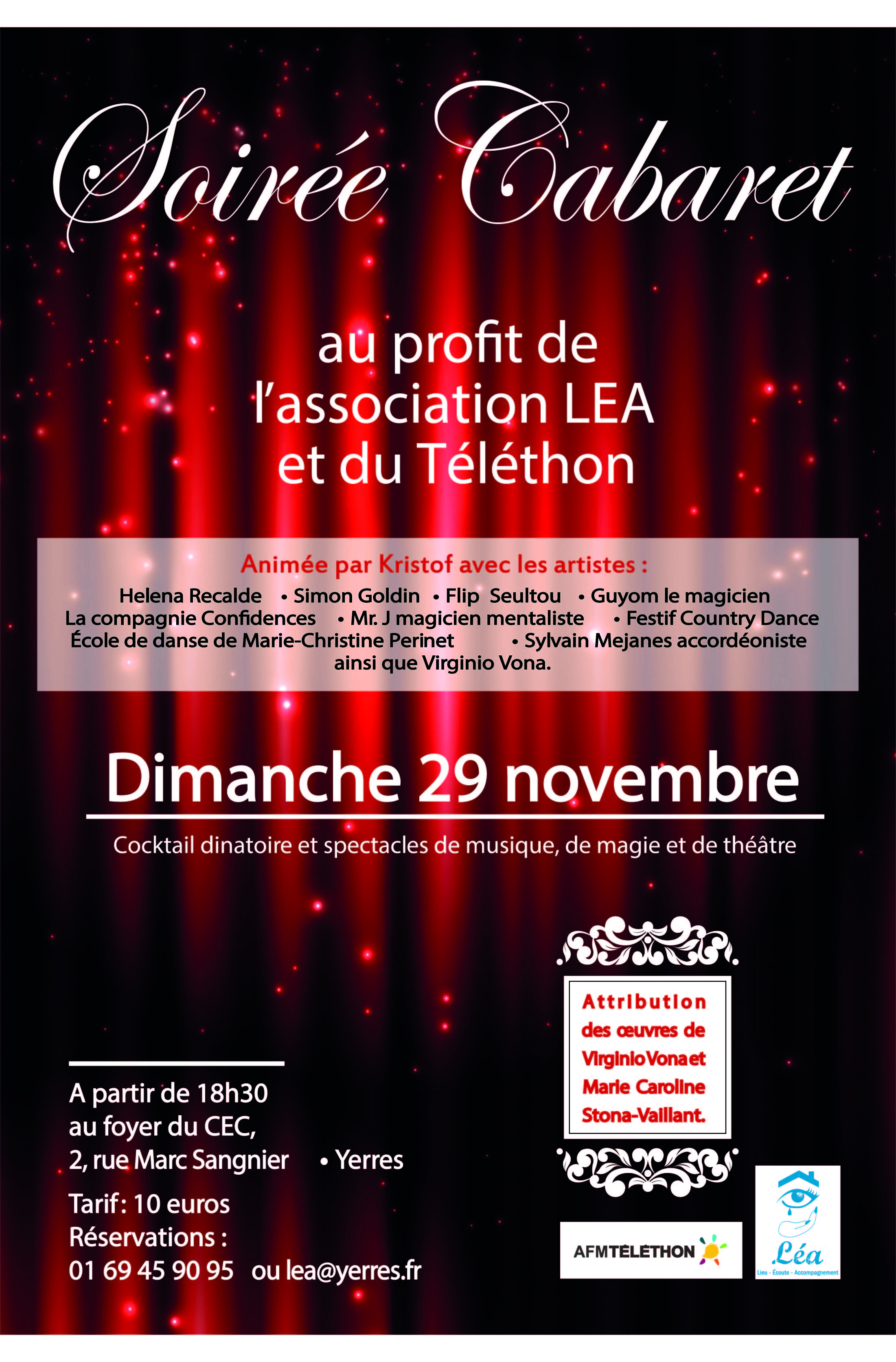soir e cabaret dimanche 29 novembre au profit de l 39 association lea et du telethon communaut d. Black Bedroom Furniture Sets. Home Design Ideas