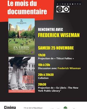 Soirée Cinéma dans le cadre du mois du documentaire : Rencontre avec le cinéaste Frederick Wiseman