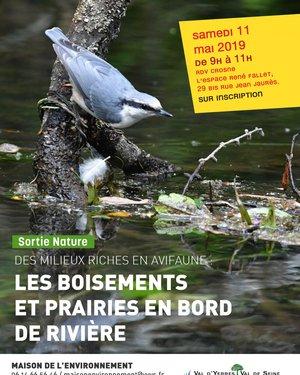 Des milieux riches en avifaune: les boisements et prairies en bord de rivière.